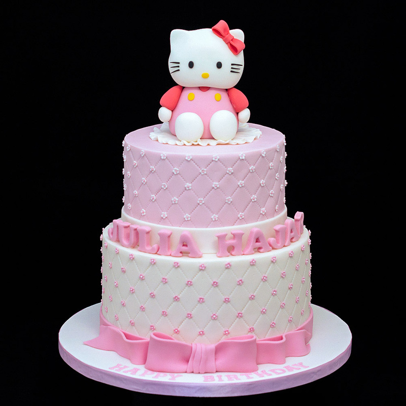 Celebration Cakes Custom Design 2 Tiers 3d Hello Kitty Birthday
